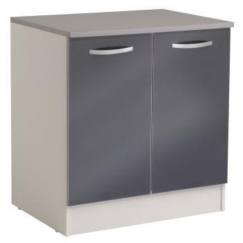 Basiseinheit Löffel 80 cm mit 2 Türen - glänzend grau