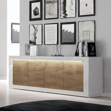 Sideboard Kaia 220cm 4 Türen - Hochglanz weiß/Eiche