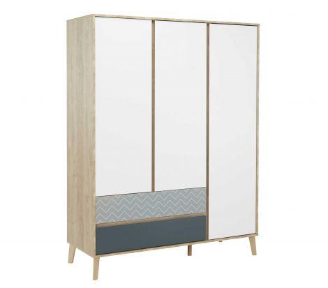 Kleiderschrank Lina 153cm mit 3 Türen - braun/weiß/blau