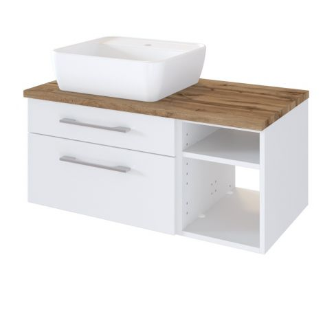 Waschtischunterschrank Dasa (links) 90cm mit 2 Schubladen - weiß