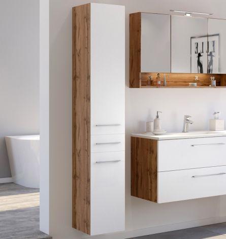Säulenschrank Sefa 30cm 2 Türen und 1 Schublade - Eiche/Weiß
