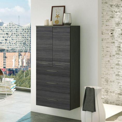 Badezimmerschrank Florent 60cm 2 Türen und 3 Schubladen - graphit/graue Eiche