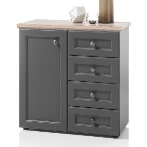 Sideboard Norah 82cm mit Tür und 4 Schubladen - grau/braun