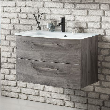Waschtischunterschrank Stivan 80cm weißes Waschbecken - Eiche grau