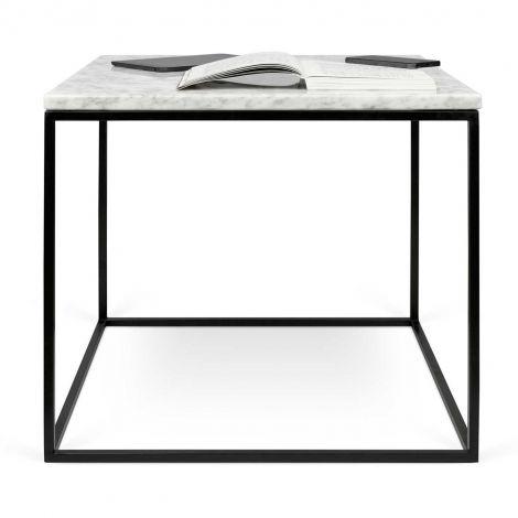Beistelltisch Gleam 50x50 - weißer Marmor/Stahl
