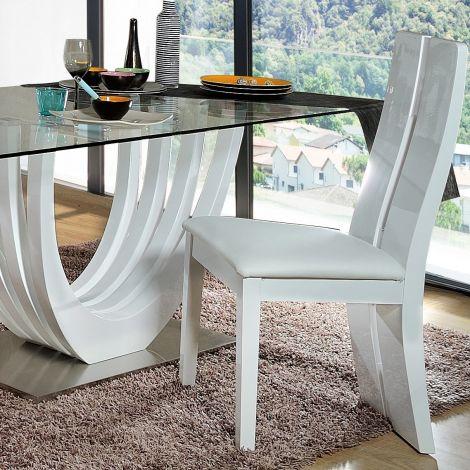 2er Set Stühle Ovar - hochglänzend weiß