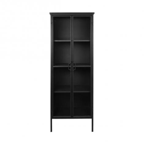 Vitrine Manhattan 180x63cm mit 2 Türen schwarzes Metall/Glas
