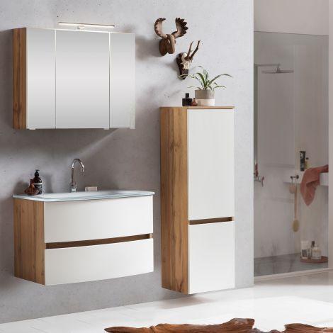 Badkombination Kornel 3 mit weißem Waschbecken - Eiche/Mattweiß