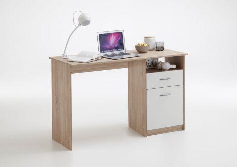 Schreibtisch Jady 123cm - Eiche/Weiß