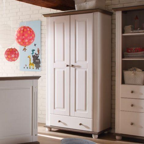 Kleiderschrank Laurel 96cm mit 2 Türen und 1 Schublade - weiß/braun