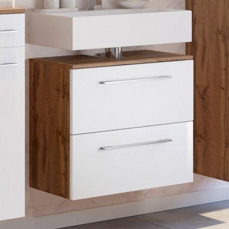 Waschbeckenschrank Sefa 60cm 1 Tür und 1 Schublade - Eiche/Weiß
