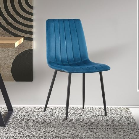 2er Set Stühle Willie velours - blau/schwarz
