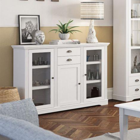 Sideboard Verner 140cm mit 3 Türen und 2 Schubladen - weiß
