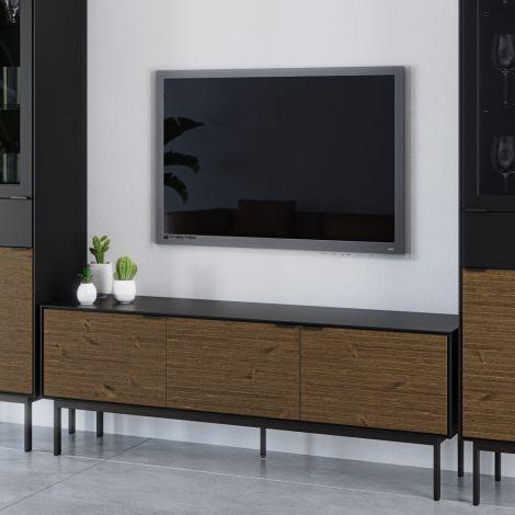 Tv-Möbel Selma 150cm mit 3 Türen - schwarz/braun