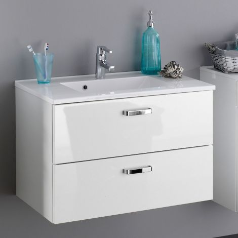 Waschtischunterschrank Bobbi 80cm 2 Schubladen - weiß