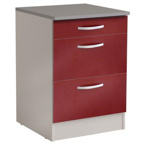 Unterteil Löffel 60 cm mit 3 Schubladen - glänzend rot