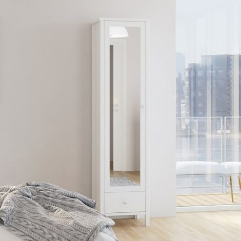Kleiderschrank Tarik 49cm mit Spiegeltür und Schublade - weiß
