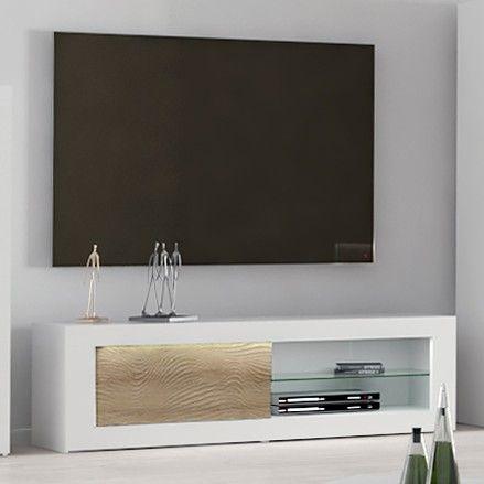 TV-Schrank Kaia 170cm - Hochglanz weiß/Eiche