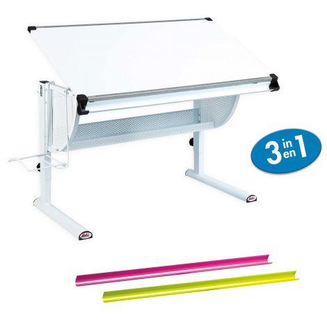 Schreibtisch Matthijs mit kippbarer Arbeitsplatte - weiß