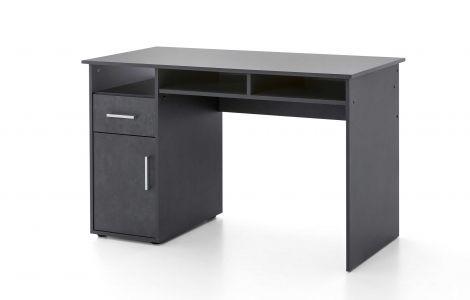Serie Maxi-Office, Schreibtisch 125 x 60 cm, mit 1 Tür und 1 Schublade - Graphit Dekor