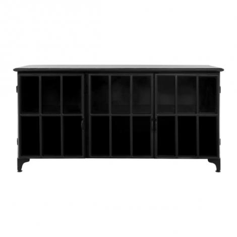 Sideboard Manhattan 150cm schwarzes Metall/Glas