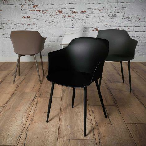 Schalensitz Kunststoff - Set von 4 - Schwarz
