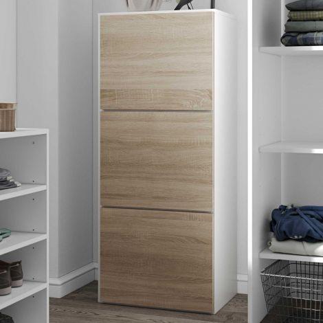 Schuhschrank Bamboo - weiß/Eiche