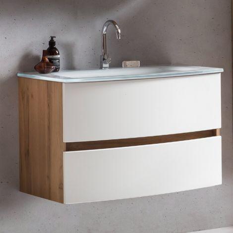 Waschbeckenunterschrank Kornel 80cm weißes Waschbecken - Eiche/mattweiß