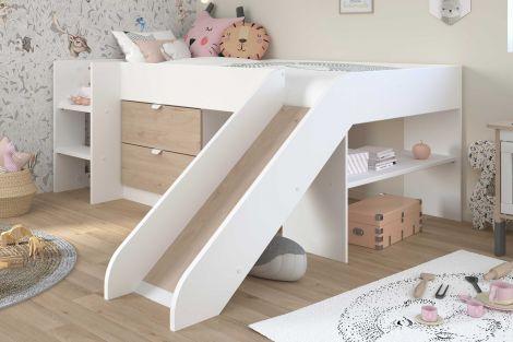 Tobo Halbschlafbett mit Rutsche 90x200 - Eiche/Weiß