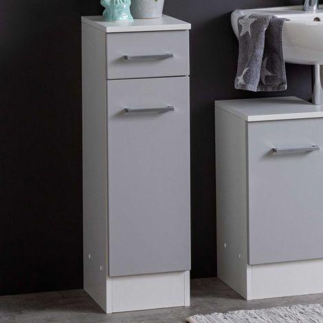 Badezimmerschrank Ricca 25cm 1 Tür und 1 Schublade - weiß/hellgrau
