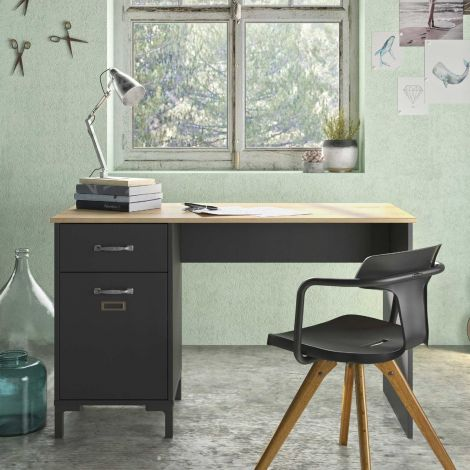 BUREAU - MANCHESTER desk 1 drawer 1 door Helvezia oak