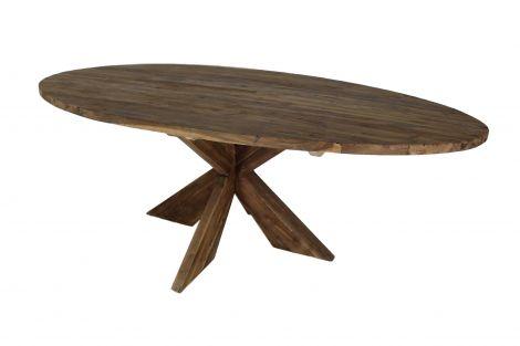 Ovaler Esstisch mit Schrittfuß - 220x110 cm - neuer Jahrgang - Teakholz
