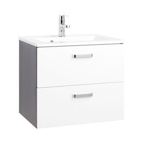 Waschtischunterschrank Bobbi 60cm mit 2 Schubladen und Keramikwaschbecken - graphit/hochglanz-weiß