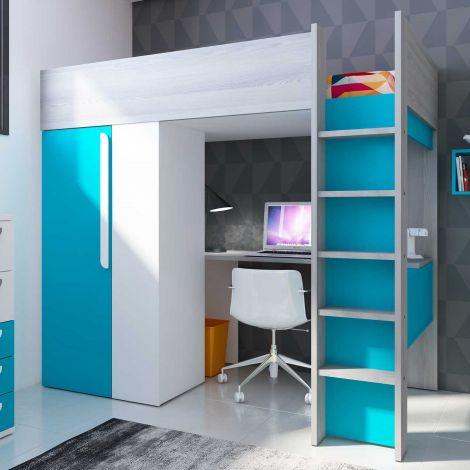 Hochbett Beau mit Schreibtisch und Schrank - blau