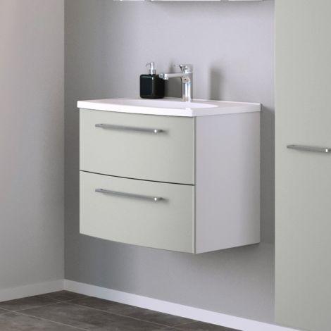 Waschtischunterschrank Gene 60cm 2 Schubladen - weiß/matt hellgrau