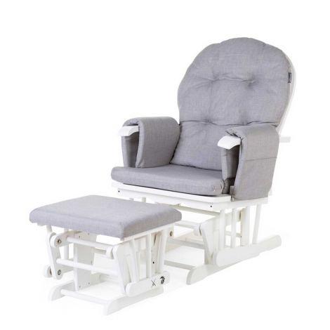 Schaukelstuhl Gleitender Stuhl mit Fußhocker - grau