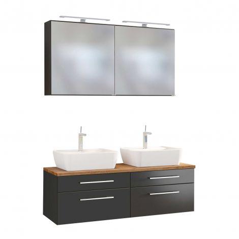 Doppelwaschtischschrank mit Spiegelschrank Dasa 120cm 4 Schubladen - graphit/mattgrau