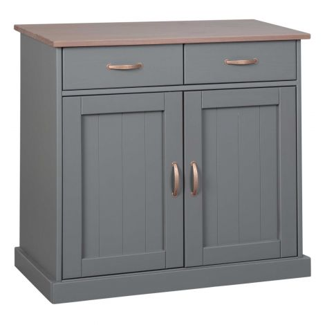 Kommode Cerci 90cm mit 2 Türen und 2 Schubladen - grau