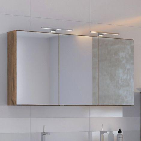 Spiegelschrank Luna 120cm mit 3 Türen und LED-Licht - Eiche