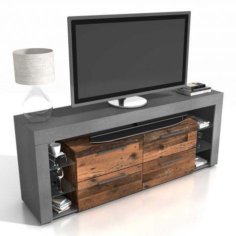 TV-Möbel Vidi 180 cm - dunkles/verwittertes Holz
