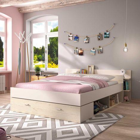 Bett mit Stauraum Eveline 140x190 - weiß/gekälkte Kiefer