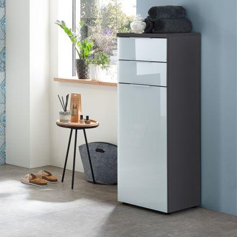Badezimmerschrank Sepp mit 1 Tür und 2 Schubladen - graphitgrau