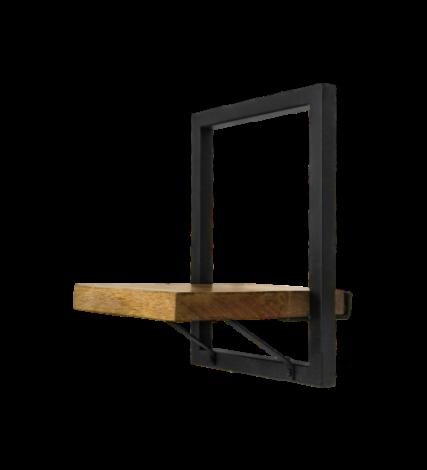 Wandregal Ebenen - 25x32 cm - Mangoholz / Eisen