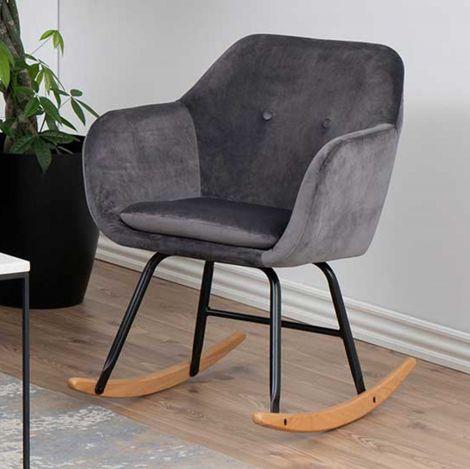 Emilia rocking chair - dark grey, oak;black