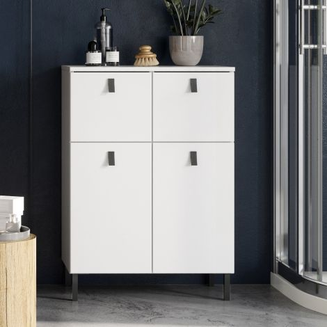 Badezimmerschrank Tucker 60cm mit 2 Türen und 2 Schubladen - weiß