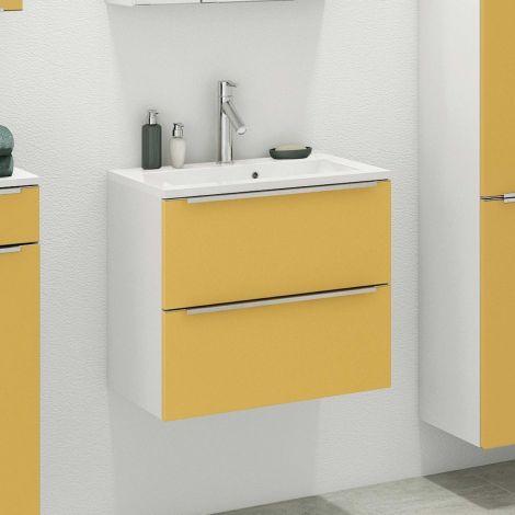 Waschbeckenschrank Hansen L60xT48cm 2 Schubladen - gelb/weiß