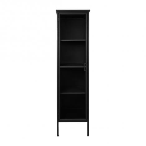 Vitrine Manhattan 180x45cm mit 1 Tür schwarzes Metall/Glas