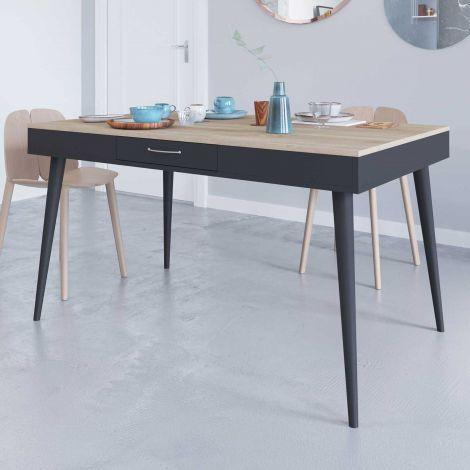 Horizon Tisch 134x85 - Eiche/schwarz
