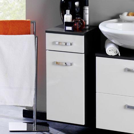 Badezimmerschrank Bobbi 30cm 1 Schublade und 1 Tür - graphit/hochglanz-weiß