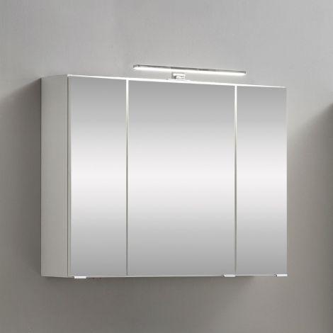 Spiegelschrank Kornel 80cm 3 Türen und LED-Beleuchtung - weiß